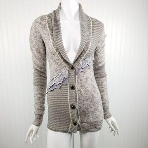 BKE Buckle Gray Lace Boho Cardigan Sweater